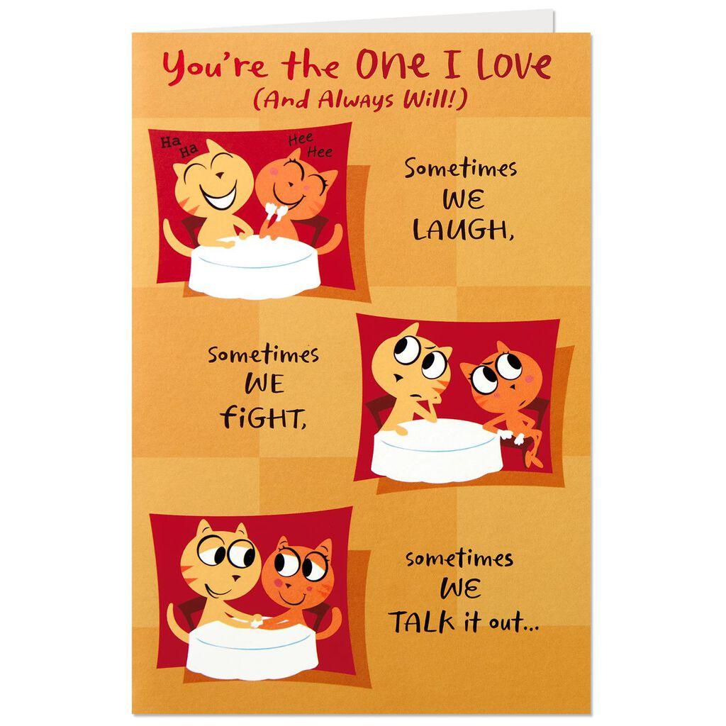 Smooching Cats Romantic Pop Up Birthday Card