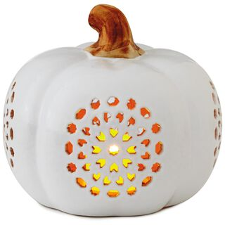 "Small Pierced Ceramic Pumpkin Luminary, 6"","