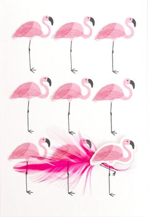 Happiest Happy Thought Flamingos Thinking of You Card