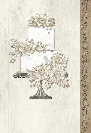 Wedding Cake With Flowers Blank Wedding Card