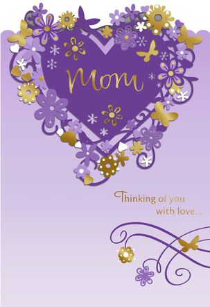 Purple and Gold Floral Heart Mother's Day Card
