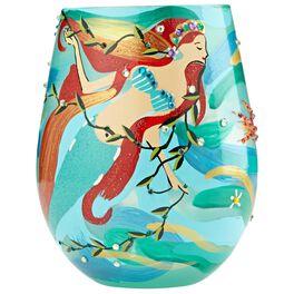 Lolita® Mermaid Hand-Painted Stemless Wine Glass, 20 oz., , large