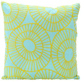 """Blue Embroidered Circles Decorative Pillow, 20"""", , large"""