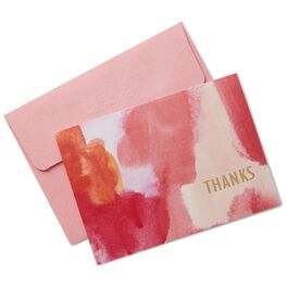 Pink and Orange Watercolor Thank You Notes, Box of 10, , large