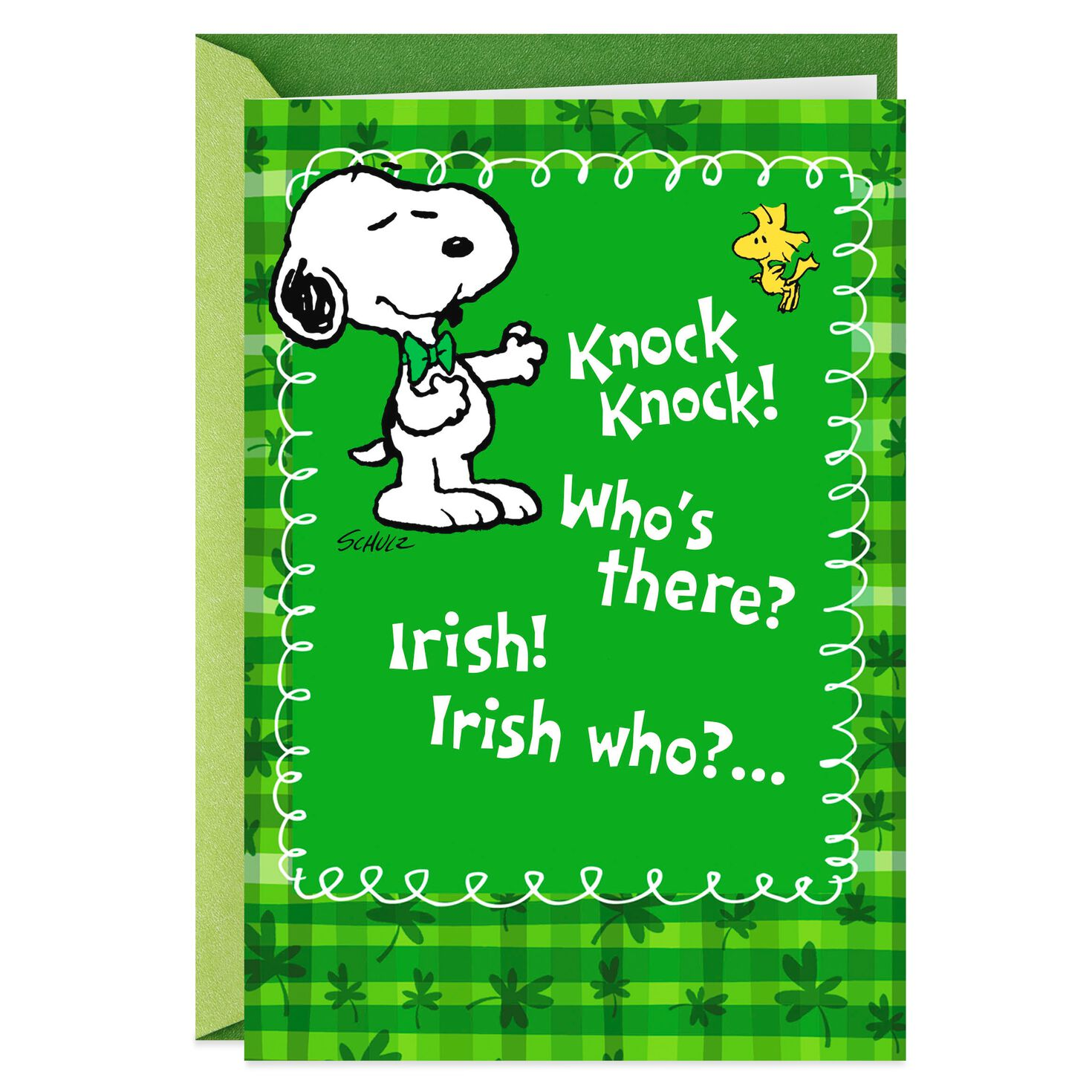 PeanutsR Snoopy And Woodstock Funny St Patricks Day Card