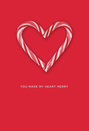 Candy Cane Heart Christmas Card