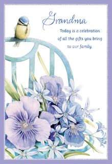 Marjolein Bastin Bird and Flowers Grandparents Day Card for Grandma,