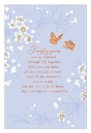 Butterfly Wishes 50th Anniversary Card
