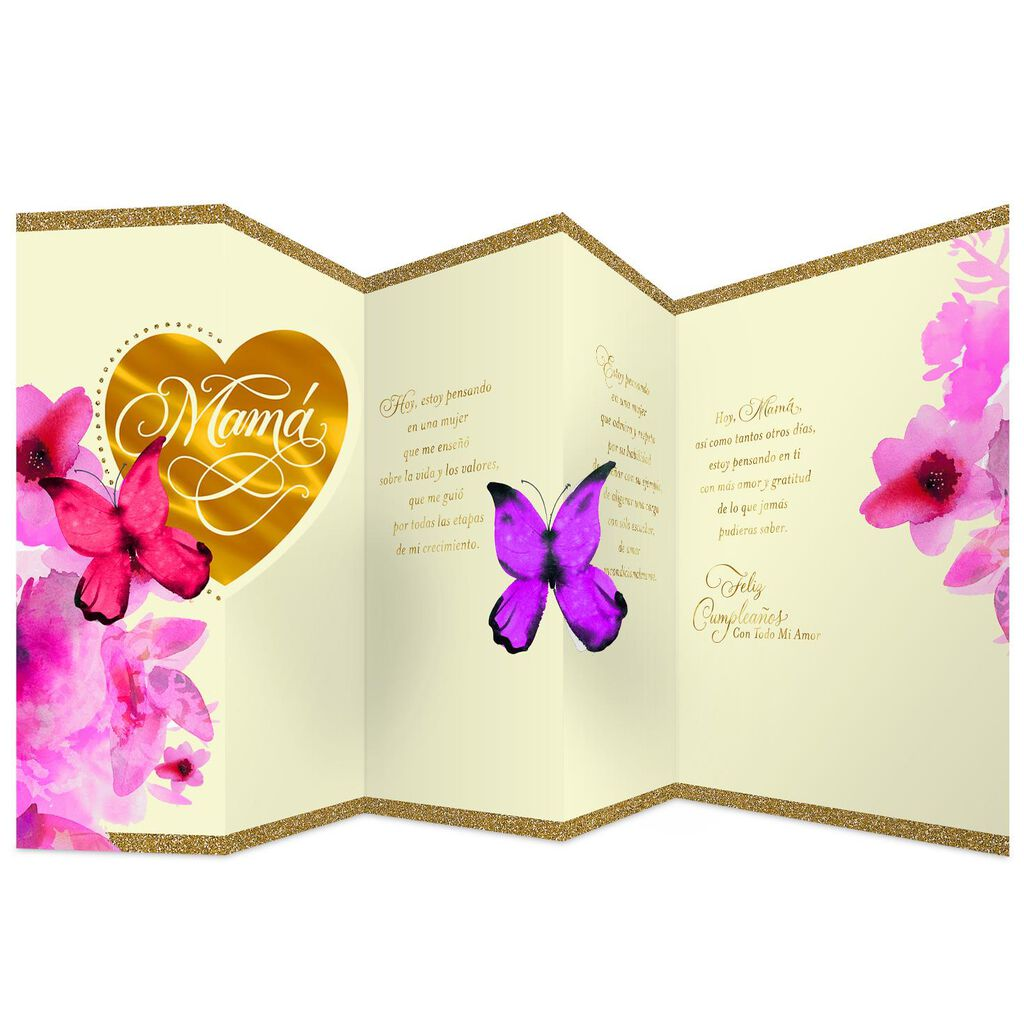 Butterfly Wishes Spanish Language Birthday Card For Mom
