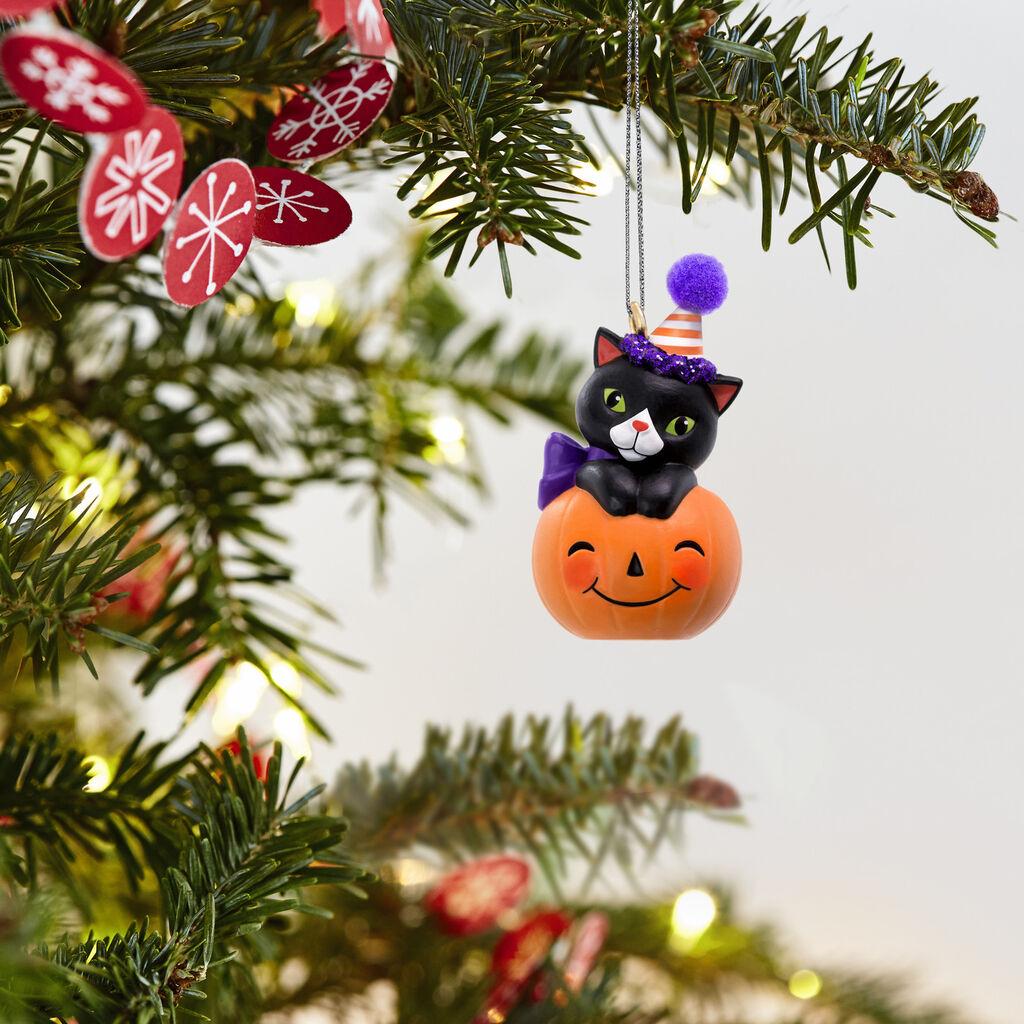 Mini Tiny Black Cat Halloween Ornament 1 09