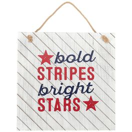 Bold Stripes, Bright Stars Patriotic Hanging Wood Sign, , large