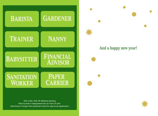 Holiday Ornament Pick-a-Title Christmas Card for Service Provider,