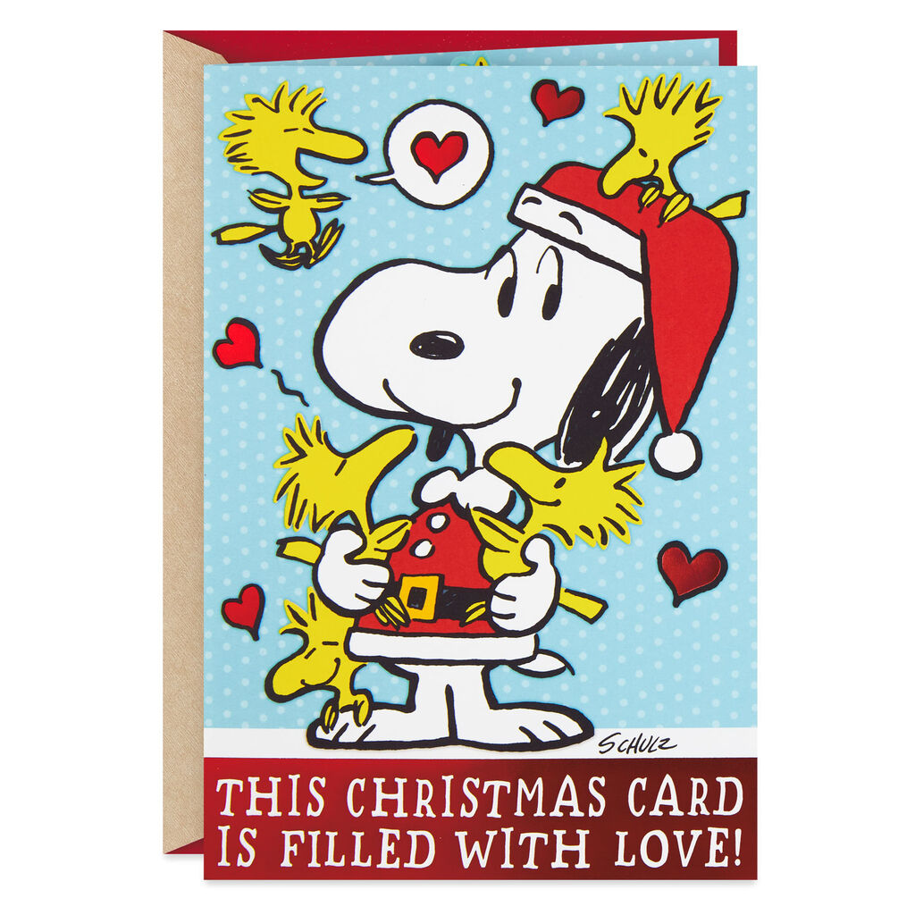Snoopy And Woodstock Christmas.Peanuts Snoopy And Woodstock Christmas Card With Jokes