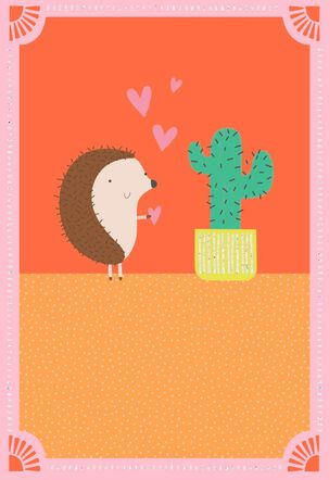 Hedgehog and Cactus Blank Love Card