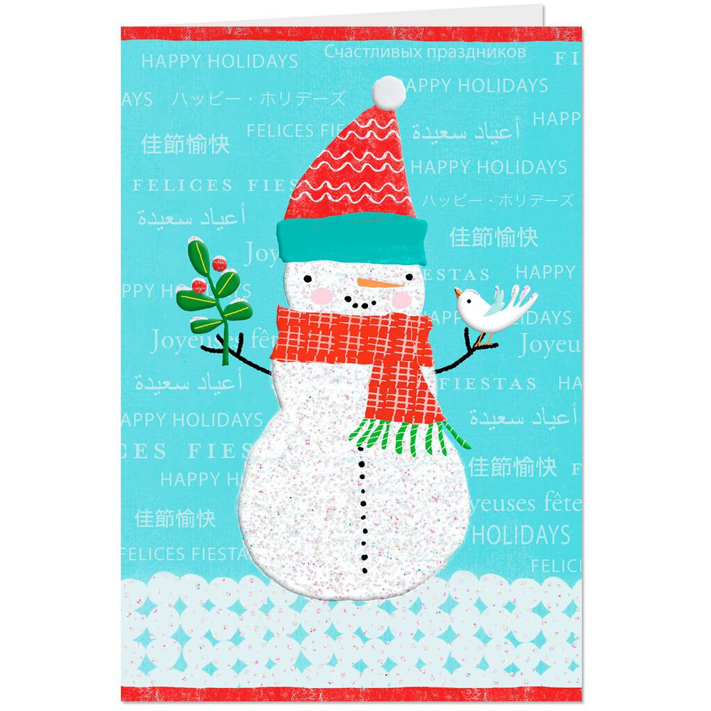 UNICEF Jolly Snowman Happy Holidays Christmas Card - Greeting Cards ...