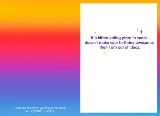 Awesome Cosmic Pizza-Eating Cat Funny Birthday Card,