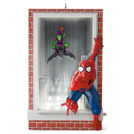 Slinging and Swinging Spider-Man and Green Goblin Ornament With Lights, 2016 Edition, , large