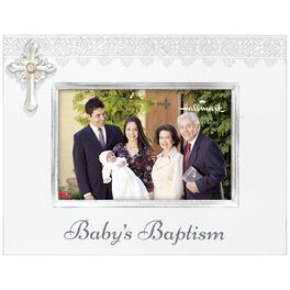 Baptism Wood Picture Frame With Cross, 4x6, , large