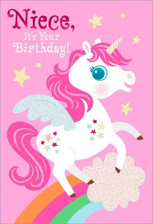 Unicorn Birthday Card For Niece