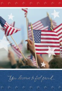 Waving U.S. Flags New Citizenship Congratulations Card,