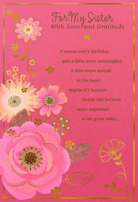 Love And Gratitude Flowers Birthday Card For Sister Greeting Cards