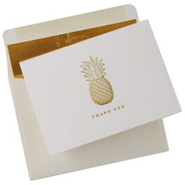 Embossed Gold Pineapple Thank You Notes, Box of 10, , large