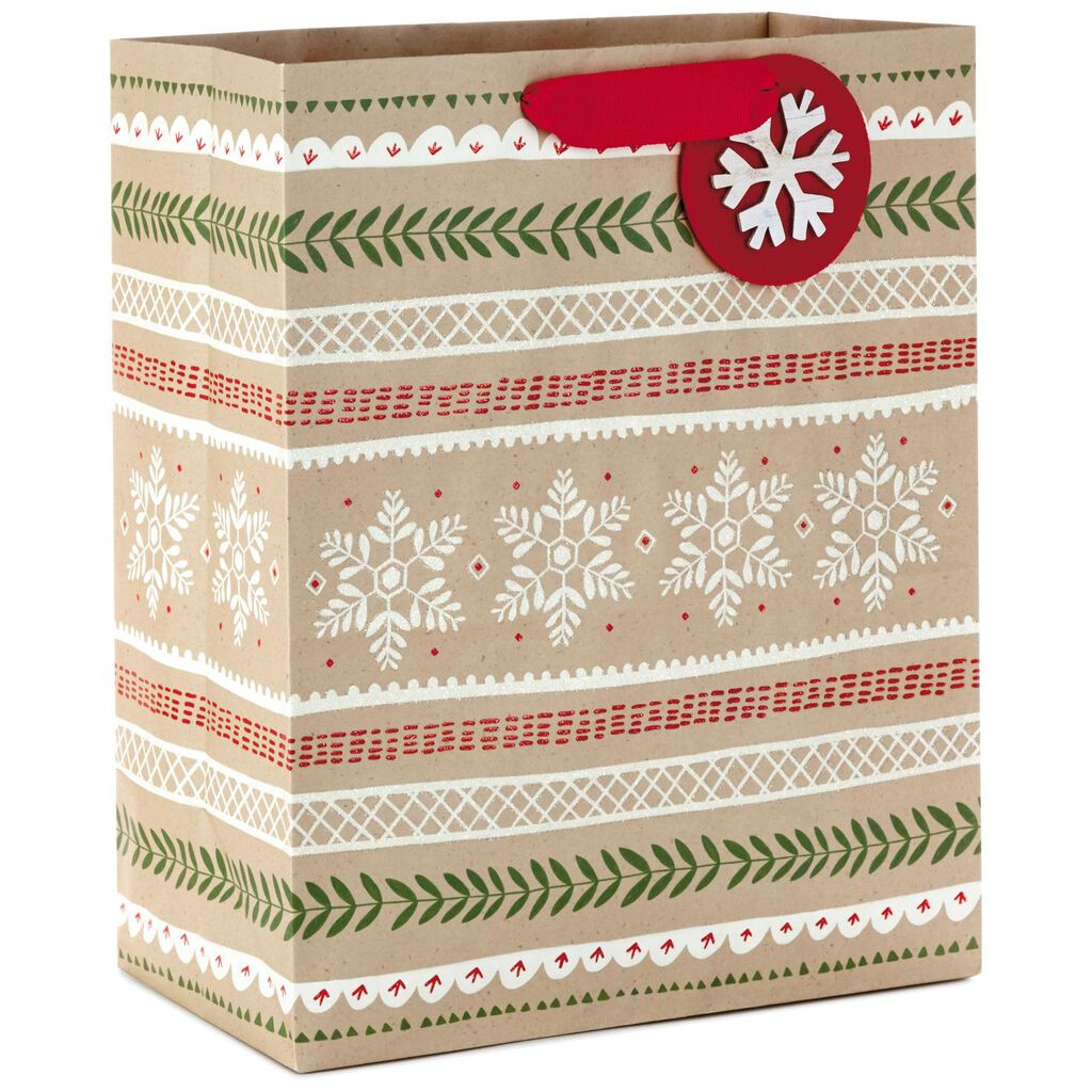 Sweater Pattern Large Christmas Gift Bag With Snowflake Attachment ...