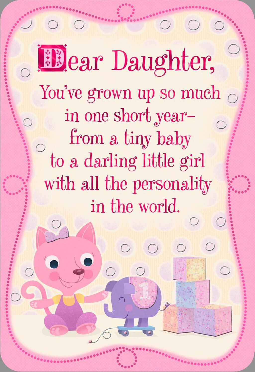 Pink Kitten 1st Birthday Card For Daughter
