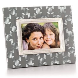 Grey Geometric Wood Picture Frame, 4x6, , large