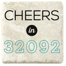 Cheers in Your Zip Code Personalized Stone Coaster, Set of 4, , large