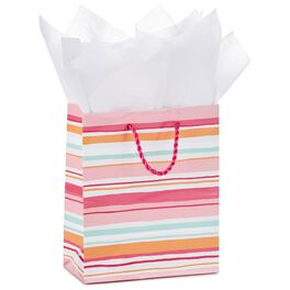 "Pink Stripes Small Gift Bag With Tissue Paper, 6.5"", , large"