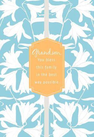 Grandson White Flowers Easter Card