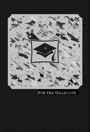 Black and White Scrollwork Graduation Card