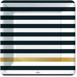 Kenzie Black & Gold Stripe Dinner Plates, Pack of 6, , large