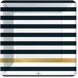 Kenzie Black & Gold Stripe Dinner Plates, Pack of 6, , large