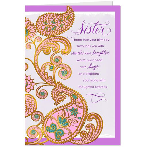 Gold And Pink Paisley Flowers Birthday Card For Sister