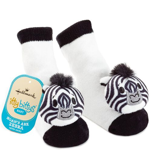 ... itty bittys® Noah s Ark Zebra Baby Rattle Socks a5be2a4092cf