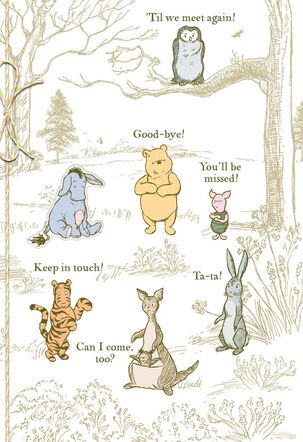 Winnie the Pooh Characters Goodbye Card From Group