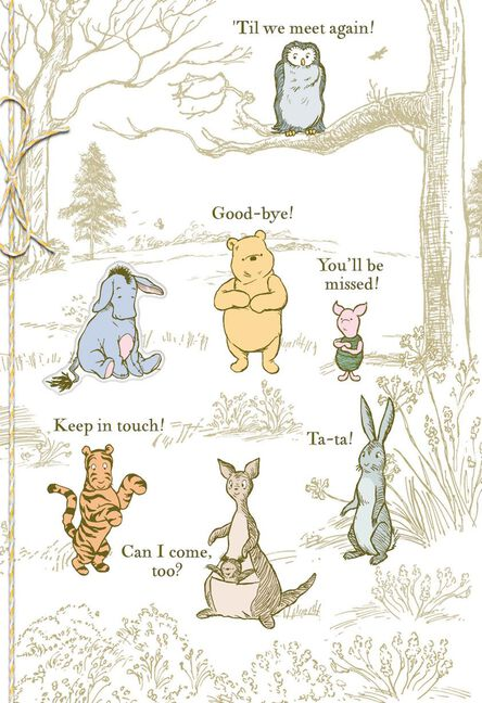 winnie the pooh characters goodbye card from group greeting cards