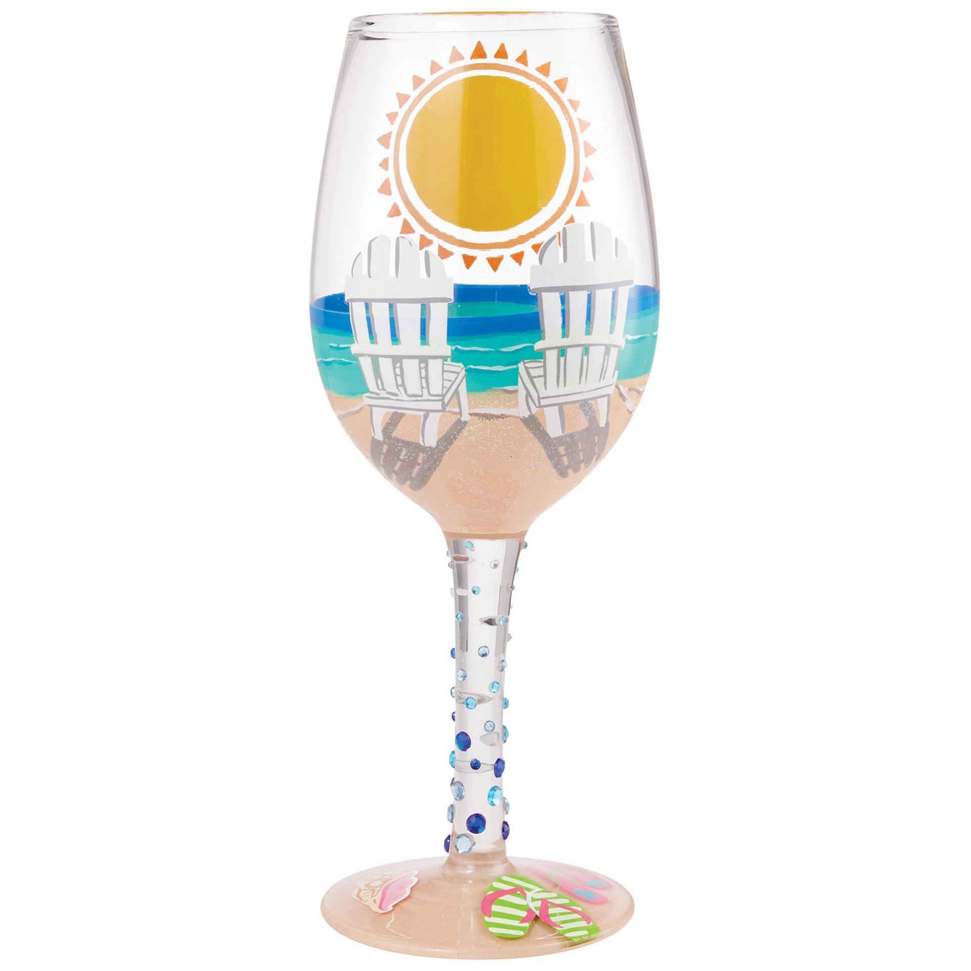 Lolita Sun On The Beach Handpainted Wine Glass 15 Oz Wine Glasses Wine Tumblers Hallmark