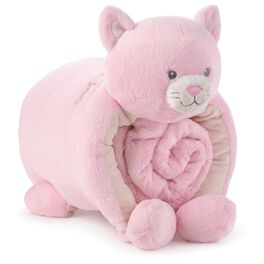 Pink Kitty Pillow and Blanket Set, , large