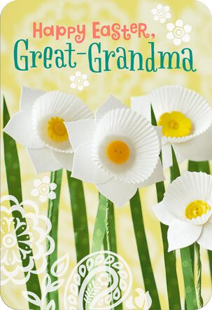 Paper Daffodils Easter Card for Great-Grandma