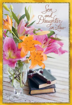 Vase of Flowers Religious Easter Card for Son and Daughter-in-Law
