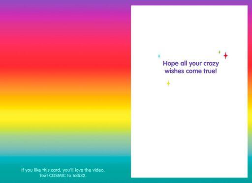 Laser Vision Cosmic Cat Funny Birthday Card,