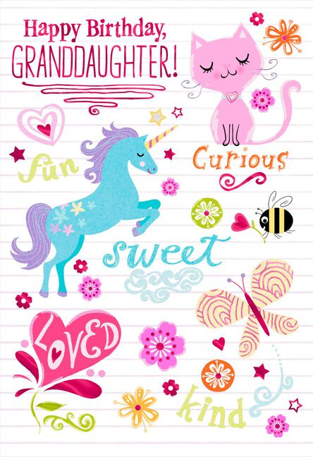 Unicorn And Cat Birthday Card For Granddaughter Greeting Cards