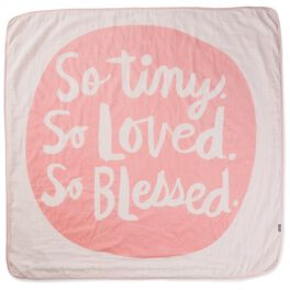 So Tiny, So Loved, So Blessed Pink Muslin Baby Blanket, , large