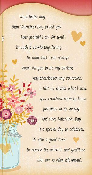Mason Jar With Flowers Valentine's Day Card