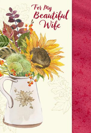 Pitcher of Flowers Thanksgiving Card for Wife