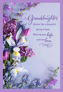 Beautiful Spring Flower Bouquet Easter Card for Granddaughter,