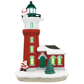 Santa and Polar Bear Holiday Lighthouse Ornament With Light,